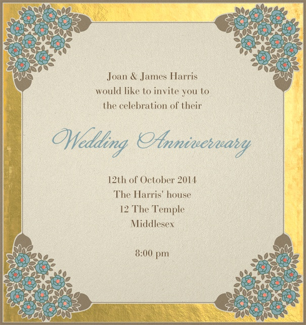 Online Wedding Invitation with a golden border and customizable text.