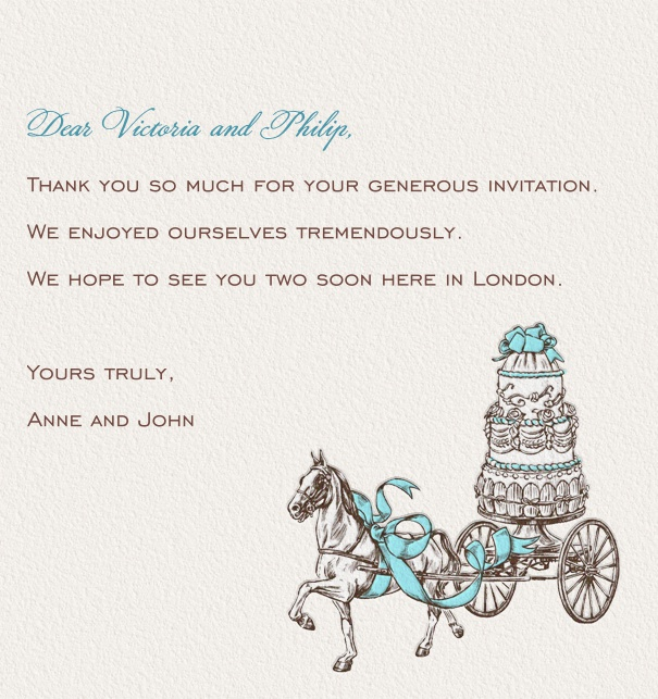 Online classic correspondence card with horses pulling a cake.