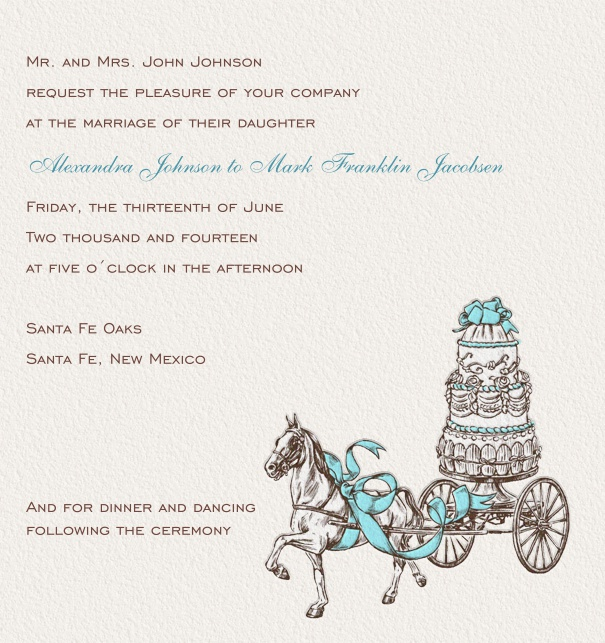 Online Wedding Invitation with cake and horse.