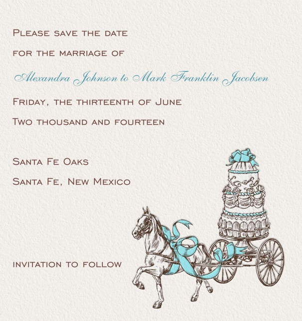 Online Save the Date Card for wedding with cake and carriage.