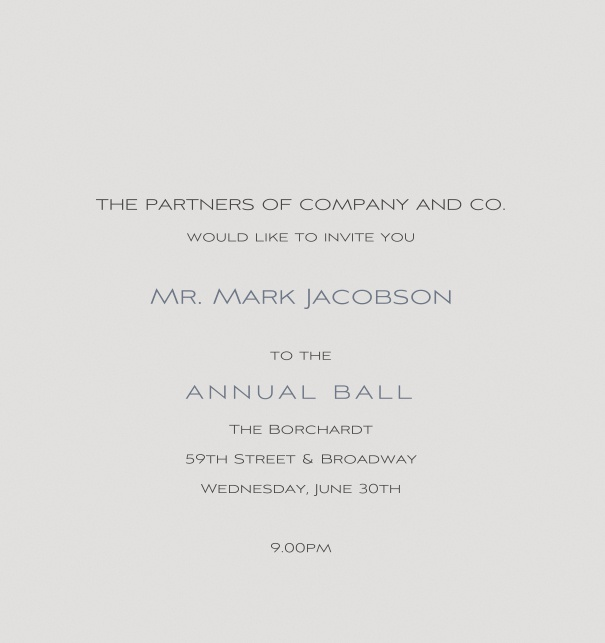 Grey Formal Corporate Invitation in high format Online for Ball or Anniversary event.