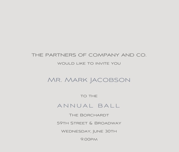Grey Formal Corporate Invitation Online for Ball or Anniversary event.