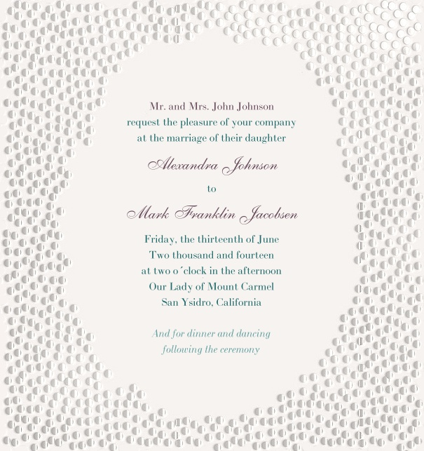 Modern Wedding Invitation with silver dots and custom theme.