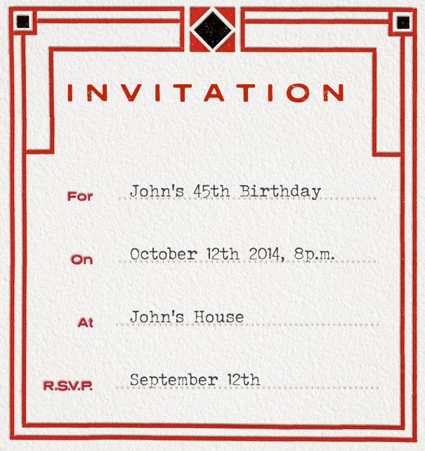 Formal Addressing Invitation with Art-Nouveau Border and Customizable Form Invitation.