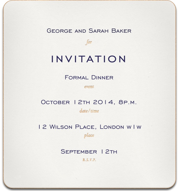 Formal Online Party Invitation with paper texture and customizable text.