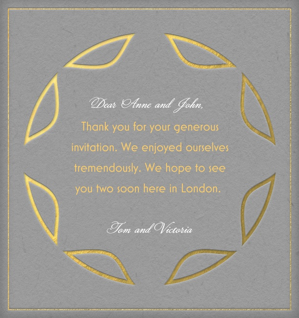 Grey Online Art Deco wedding card with a round golden frame.