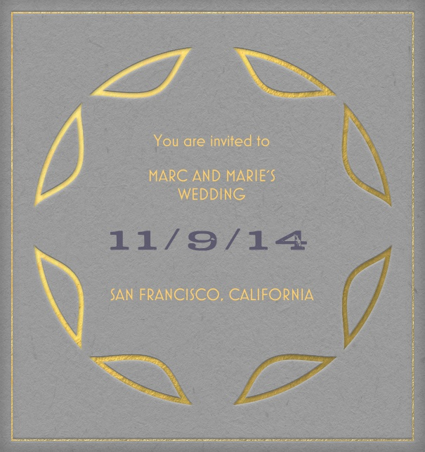 Art Nouveau Online Invitation Card with gold design elements.