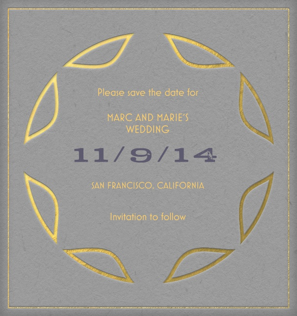 Art Deco Wedding Save the Date designed by Pepin Press.