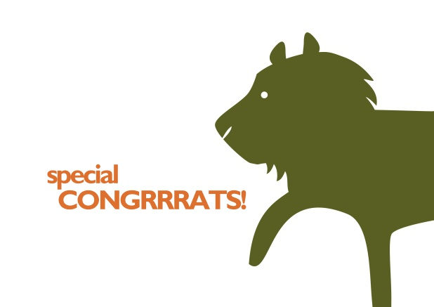 Congratulations card with lion