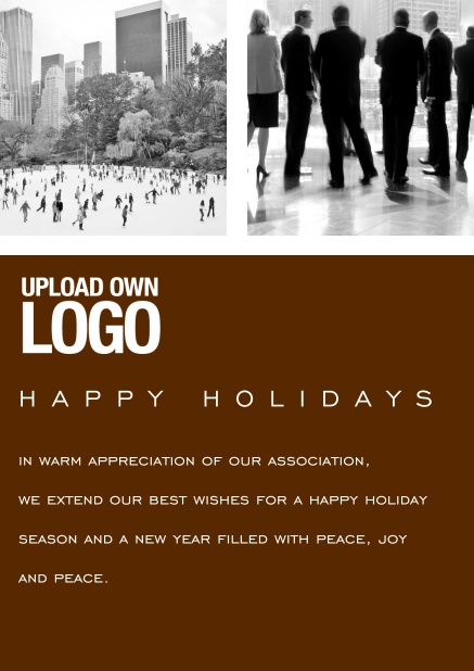 Corporate Christmas card with photo field, own logo option and red text field. Brown.