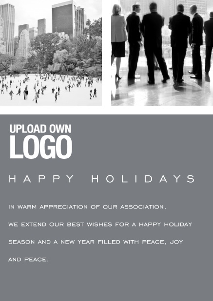 Corporate Christmas card with photo field, own logo option and red text field. Grey.