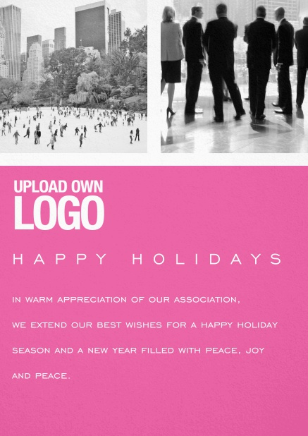 Corporate Christmas card with photo field, own logo option and red text field. Pink.