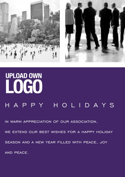 Corporate Christmas card with photo field, own logo option and red text field. Purple.
