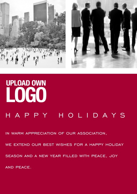 Corporate Christmas card with photo field, own logo option and red text field. Red.