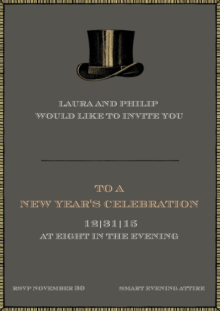 Party invitation card with top hat including dotted line for guest's name.