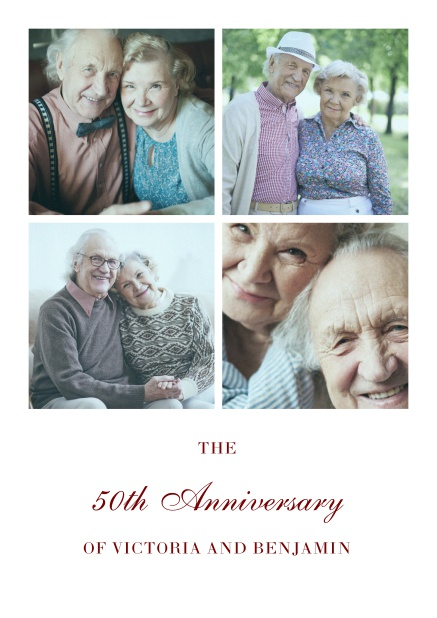 Online 50th anniversary invitation card with four photo boxes.