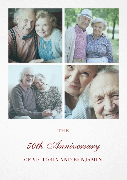 Paper 50th anniversary invitation card with four photo boxes.