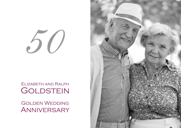 50th anniversary invitation card with number and photo.