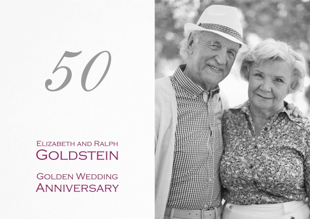 Golden anniversary invitation card with photo and text options.
