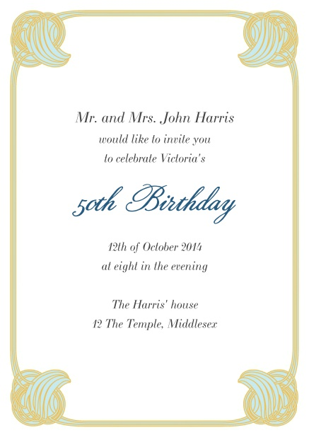 50th Birthday online birthday invitation card with art deco frame.
