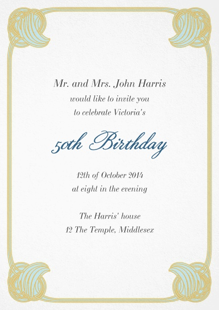 50th Birthday invitation card with rounded art nouveau flower deco and editable text.
