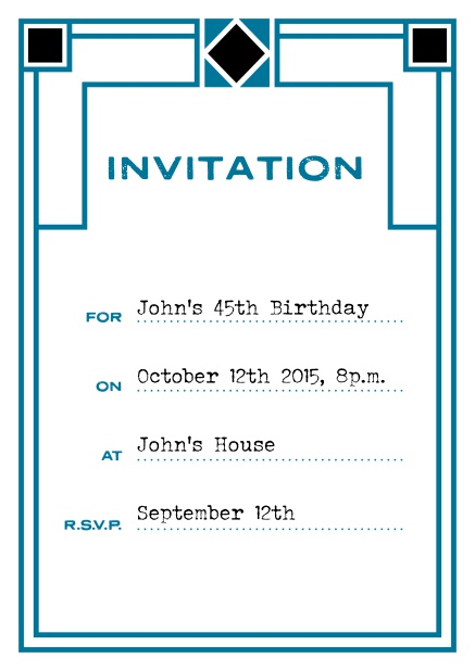 Online invitation card with art deco design for birthday invitations or other occasions. Blue.