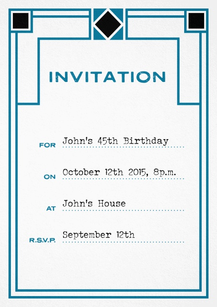 Birthday invitation fill out card with art nouveau design and editable text. Blue.