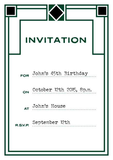Online invitation card with art deco design for birthday invitations or other occasions. Green.
