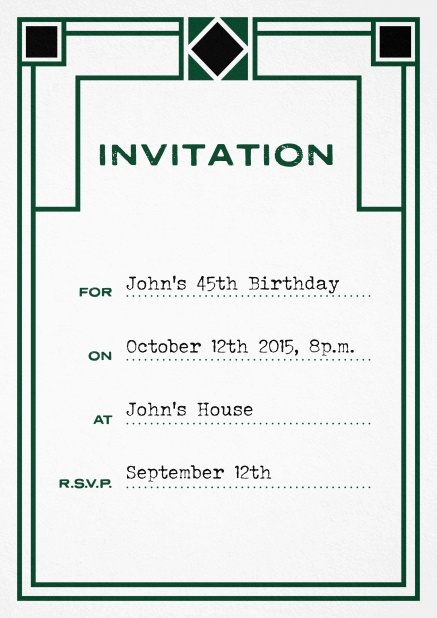 Birthday invitation fill out card with art nouveau design and editable text. Green.