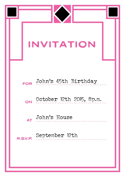 Online invitation card with art deco design for birthday invitations or other occasions. Pink.