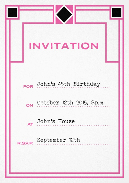 Birthday invitation fill out card with art nouveau design and editable text. Pink.