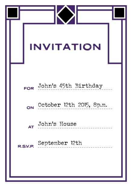 Online invitation card with art deco design for birthday invitations or other occasions. Purple.