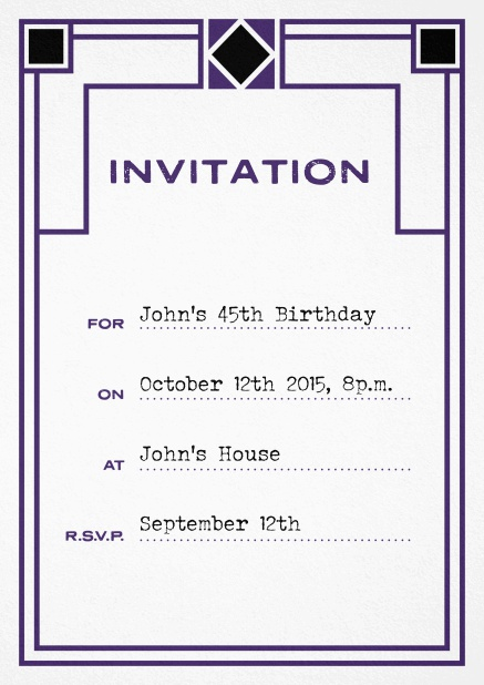 Birthday invitation fill out card with art nouveau design and editable text. Purple.