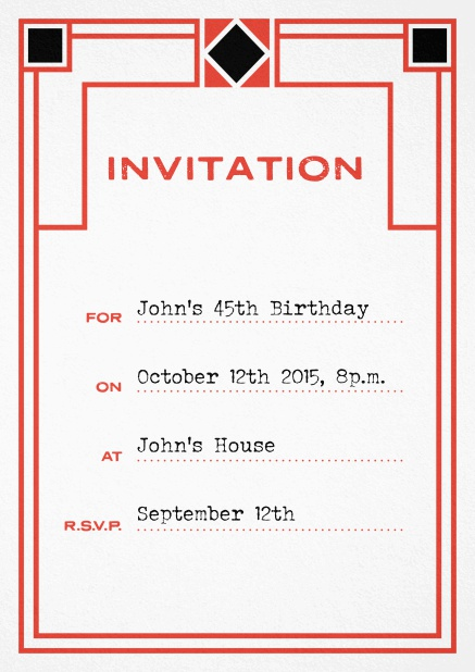 Birthday invitation fill out card with art nouveau design and editable text. Red.