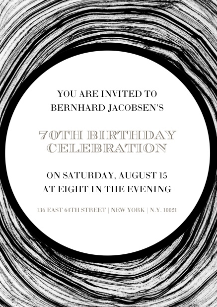 Online Invitation In Circles For 70th Birthday