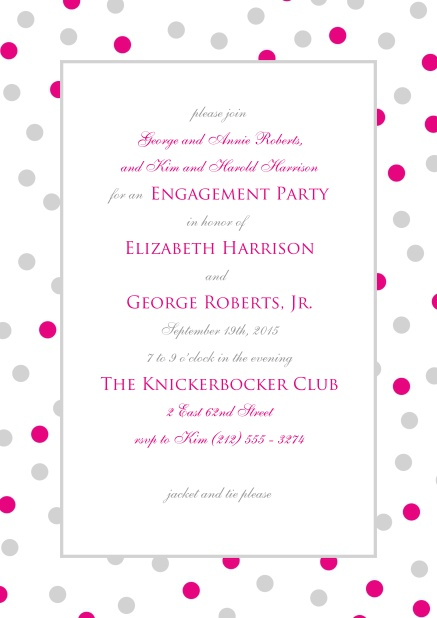 Online invitation with pink and grey dotted frame and text field in the middle.