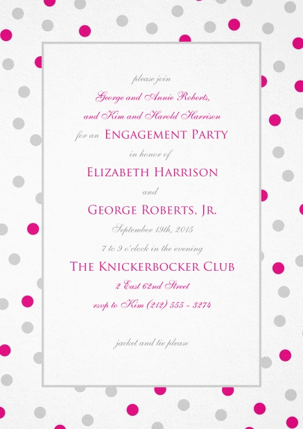 Invitation with pink and grey dotted frame and text field in the middle.