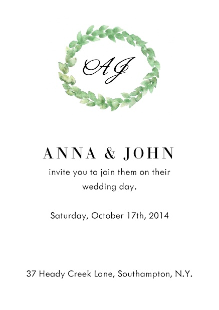 Online Wedding invitation card with green laurel wreath, initials and editable text.