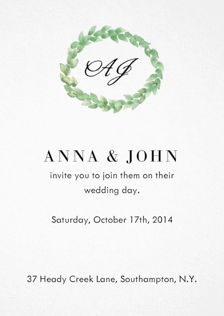Wedding invitation card with green laurel wreath, initials and editable text.