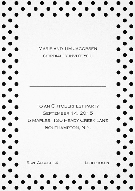 Classic invitation card with poka dotted frame in several colors and editable text. Black.