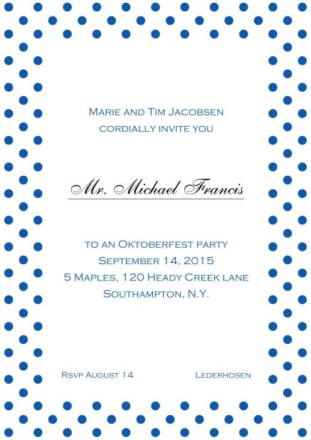 Classic online invitation card with poka dotted frame, editable text and line for personal addressing. Blue.