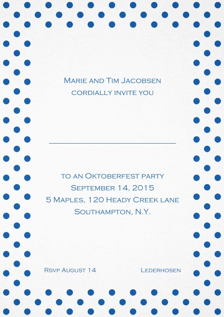 Classic invitation card with poka dotted frame in several colors and editable text. Blue.