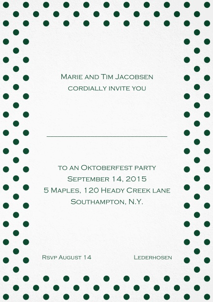 Classic invitation card with poka dotted frame in several colors and editable text. Green.