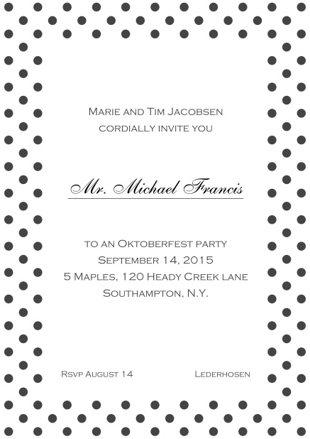 Classic online invitation card with poka dotted frame, editable text and line for personal addressing. Grey.