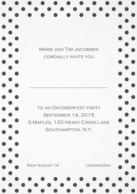 Classic invitation card with poka dotted frame in several colors and editable text. Grey.