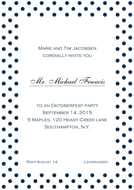 Classic online invitation card with poka dotted frame, editable text and line for personal addressing. Navy.