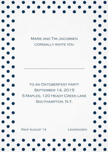 Classic invitation card with poka dotted frame in several colors and editable text. Navy.