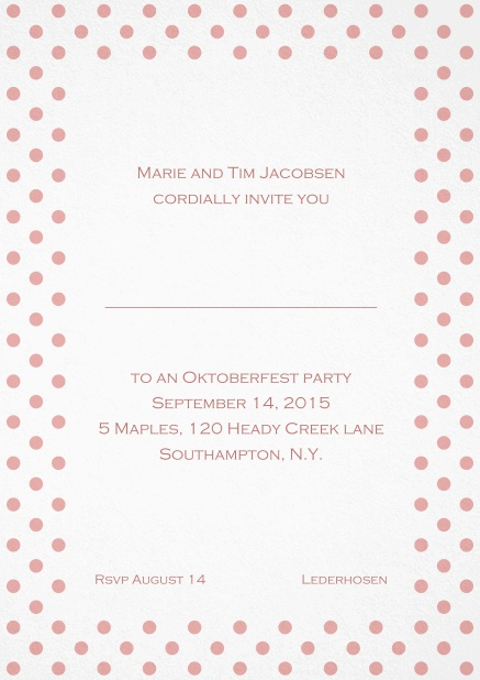 Classic invitation card with poka dotted frame in several colors and editable text. Pink.