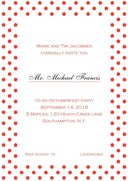 Classic online invitation card with poka dotted frame, editable text and line for personal addressing. Red.