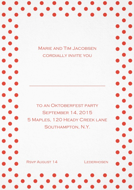 Classic invitation card with poka dotted frame in several colors and editable text. Red.